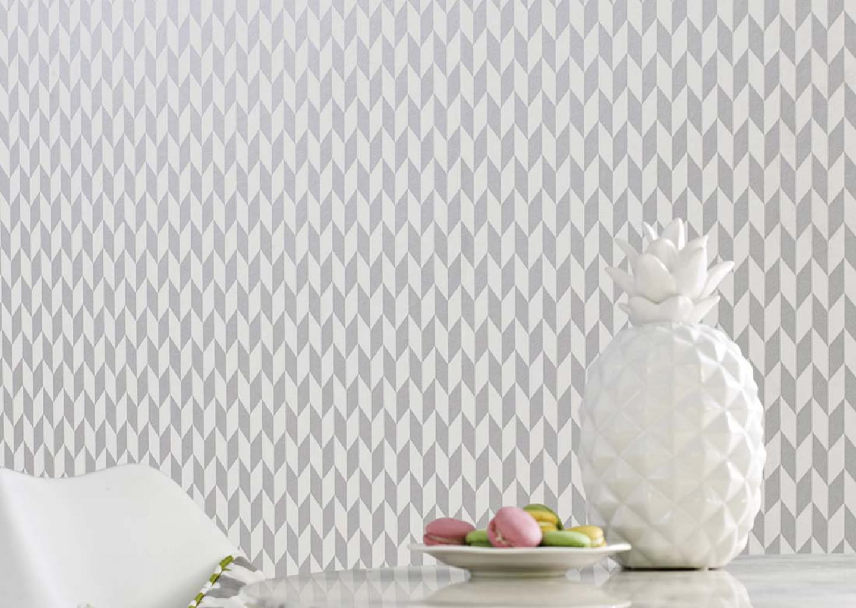 Papel pintado teliko blanco crema aluminio gris for Papel pintado de los 70