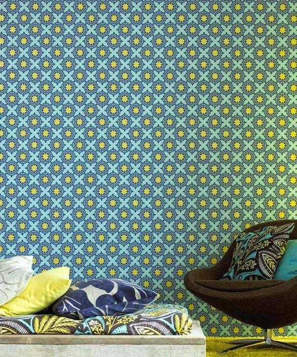 Papel pintado Hadit Mate Ornamentos pequeños Turquesa pastel Azul Amarillo lustre