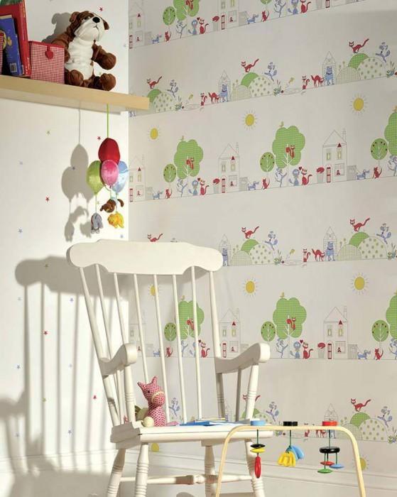 Papel de parede Cats and Dogs Mate Árvores Hounds Gatos Branco Amarelo Azul claro Verde claro Vermelho framboesa