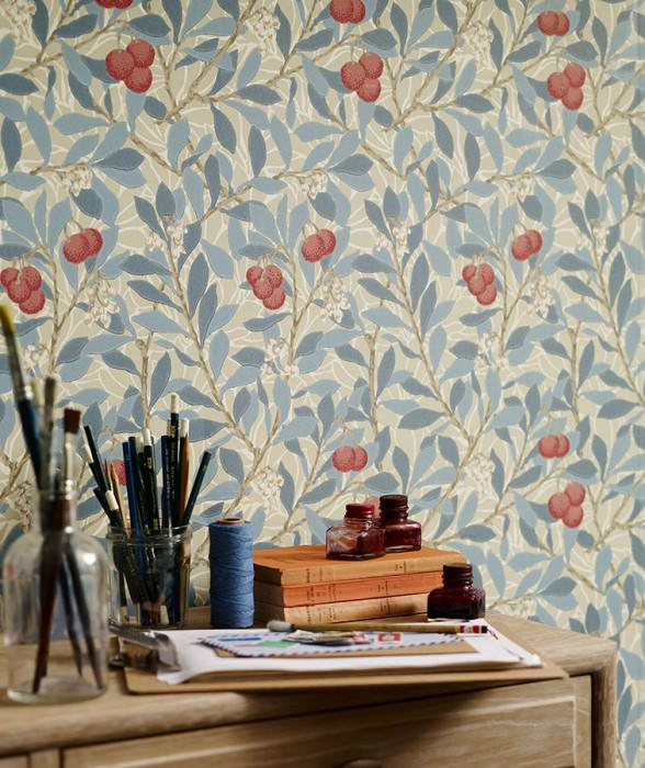 Wallpaper Antonia Hand printed look Matt Leaves Blossoms Fruits Cream Light olive grey Antique pink Beige grey Green blue Pastel blue