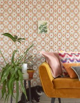 Wallpaper Efigenia Matt Baroque elements Blossoms Hearts Stars Light grey beige Orange Red Sun yellow Wine red White
