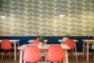 Wallpaper Silvana Matt Palm fronds Cream Blue Green Yellow green Emerald green