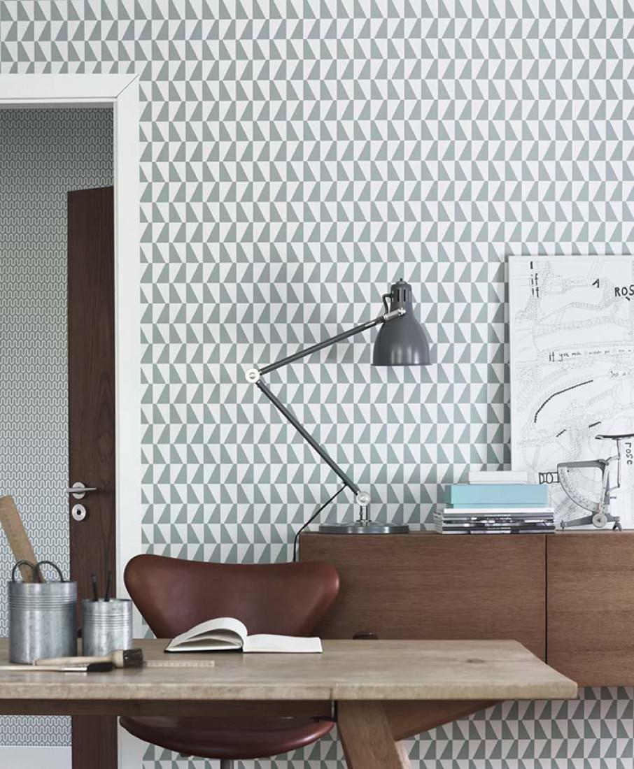 Balder blanc gris menthe papier peint g om trique - Papier peint style annee 70 ...