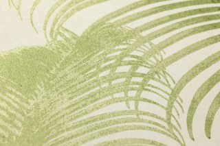 Wallpaper Milva Matt Palm fronds Cream Fern green shimmer