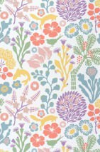 Wallpaper Arietta Hand printed look Matt Flowers Plants Animals White Yellow Grey blue Green Light red Violet