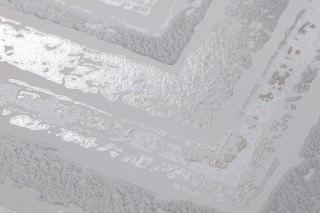 Papel de parede Vittorio Efeito estampado à mão Mate Ziguezague Branco acinzentado Cinza Bege pérola Prata brilhante