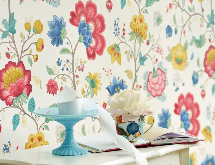 Wallpaper Belisama Matt Leaves Flower tendrils Bugs Cream Beige grey Blue Golden yellow Raspberry red Patina green