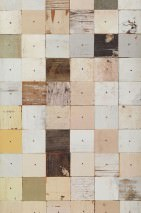 Wallpaper Scrapwood 16 Matt Shabby chic Imitation wood Brown tones Grey tones Light beige White