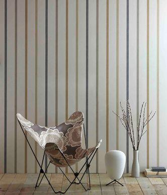 Papier peint Sabira beige gris Vue pièce