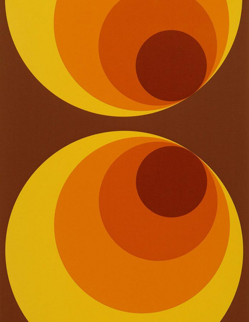 Apollo brun brun jaune orange i love the 70s - Papier peint annees 70 ...