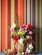 Wallpaper Keila Matt Looks like textile Stripes Beige grey Green Orange red Red brown Black blue
