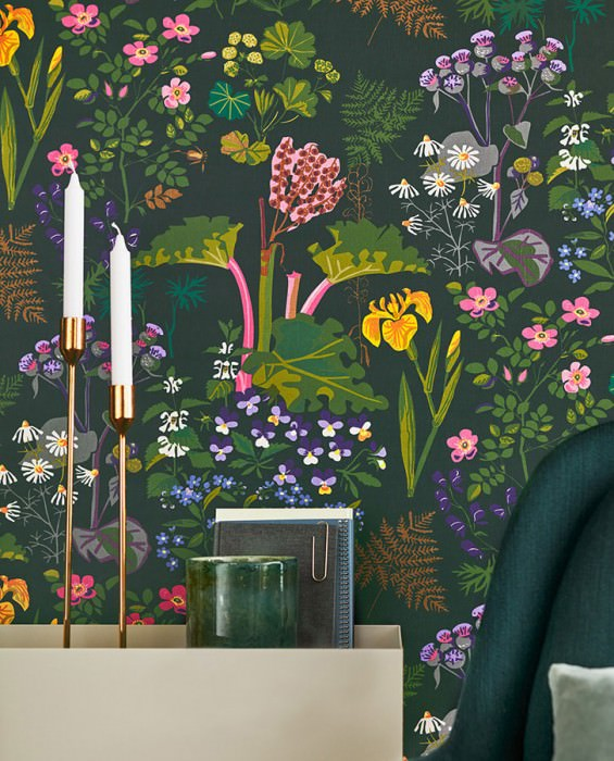 Wallpaper Singa Matt Leaves Blossoms Black grey Beige brown Blue Heather violet Yellow Shades of green