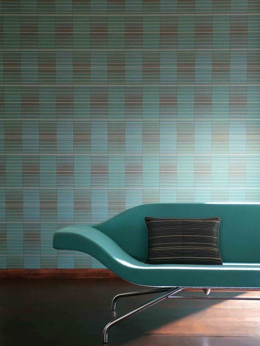 Archiv Wallpaper Oshun turquoise blue Room View
