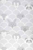 Papier peint Taro Mat Courbes Animaux Gris clair  Blanc Gris foncé