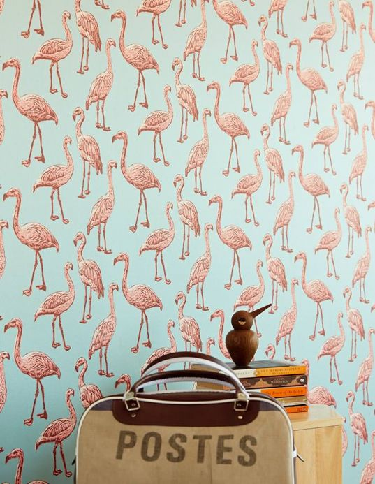 Animal Wallpaper Wallpaper Gisele mint turquoise Room View