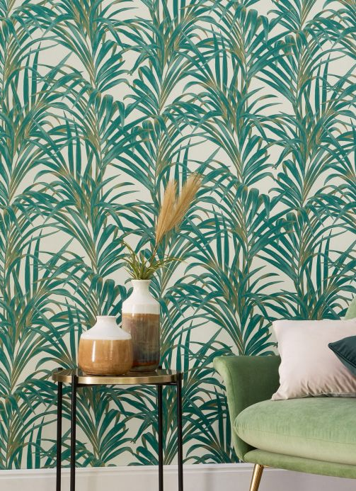 New arrivals! Wallpaper Palmetto pearlescent opal green Room View