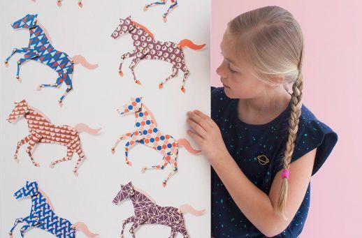 Wallpaper Horses blue Room View