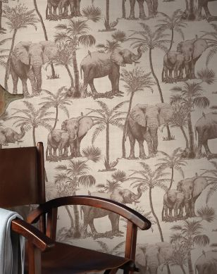 Wallpaper Raynor pale brown Room View