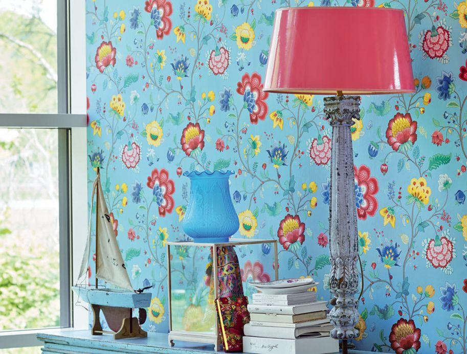 Papier peint floral Papier peint Belisama bleu pastel Vue pièce