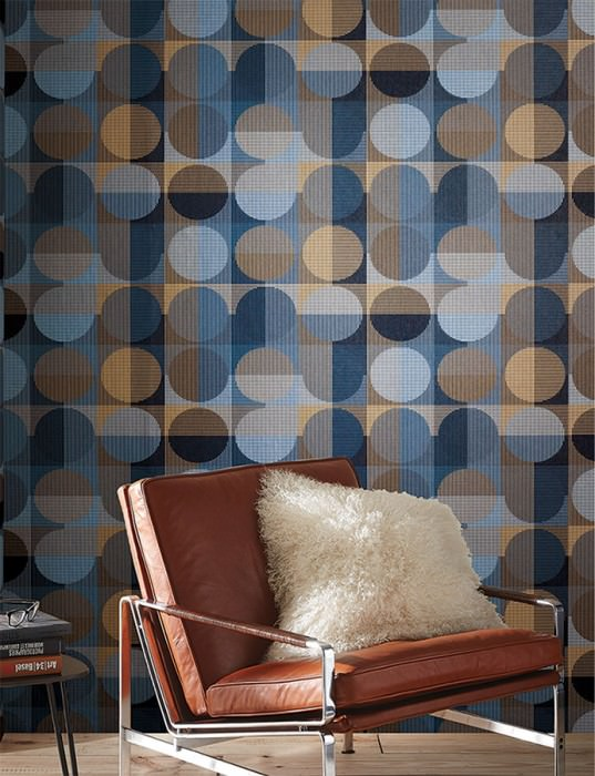 Wallpaper Henrio Matt Graphic elements Dots Anthracite Dark blue Pearl gold Pearl pale blue