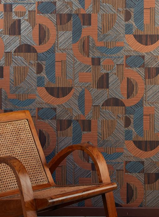 Geometric Wallpaper Wallpaper Paseo pearl blue Room View