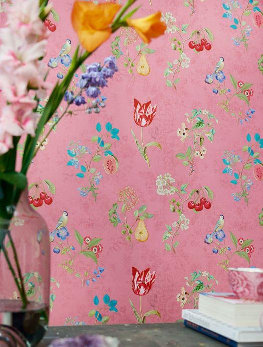 Papel pintado floral Papel pintado Mallorie rosa Ver habitación