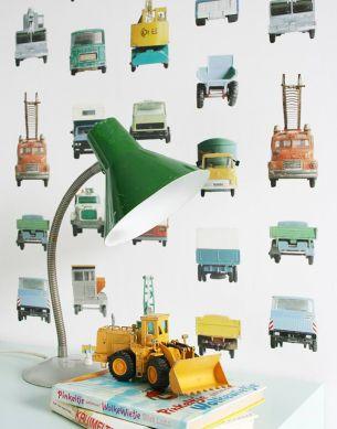 Papier peint Work Vehicles turquoise Vue pièce