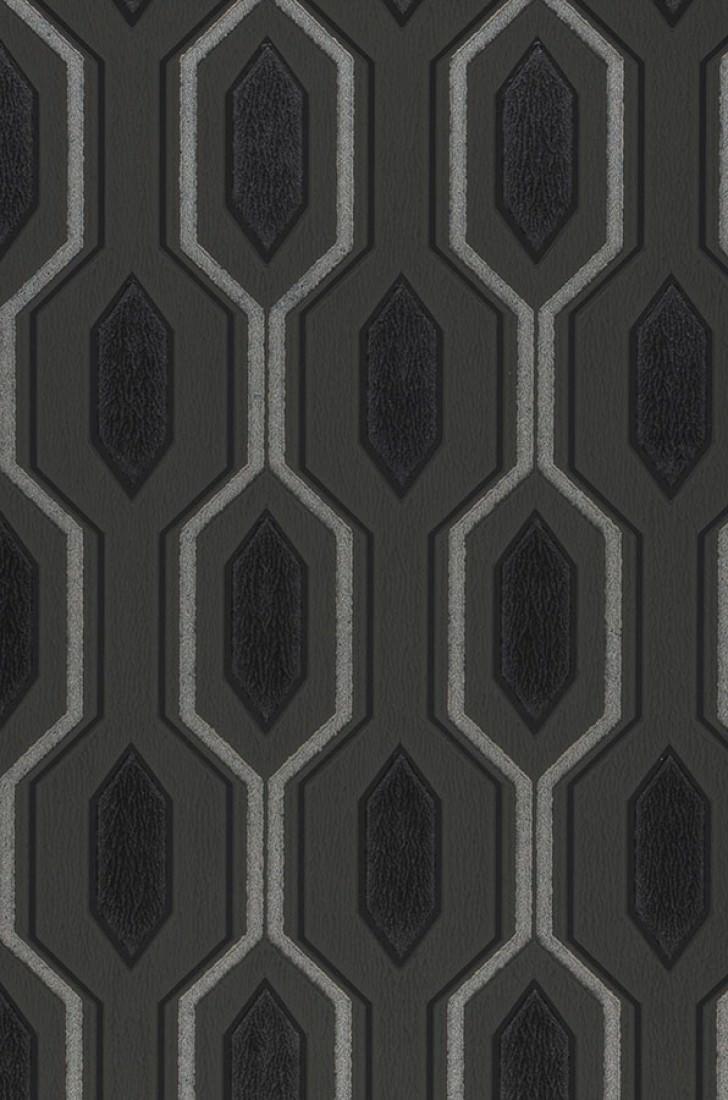 Carta da parati marais grigio antracite nero brillante for Carta da parati damascata argento