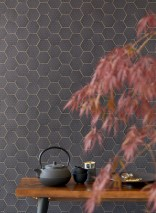Papel pintado Hadeggo Patrón brillante Superficie base mate Triángulos Hexágonos Gris negruzco Oro mate Negro brillante