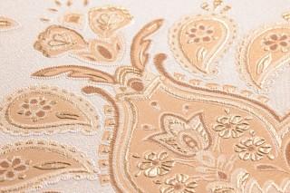 Papier peint Adeline Mat Damassé floral Blanc crème Beige Brun beige Crème Or nacré