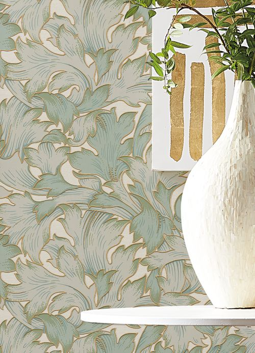 Classic Wallpaper Wallpaper Epinal pale green Room View