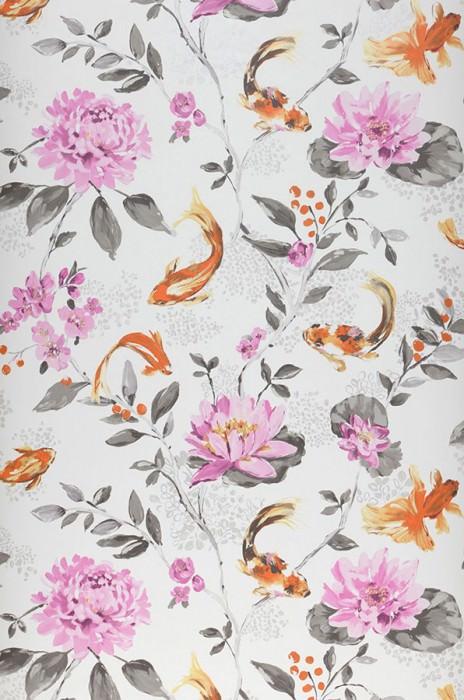 Wallpaper Liotta Matt Leaves Blossoms Fishes White Grey brown Light violet Orange Pastel yellow shimmer Pearl light grey