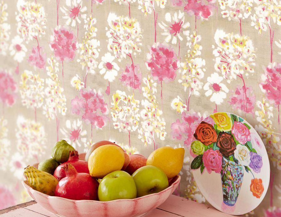 Papel pintado floral Papel pintado Evote rojo frambuesa Ver habitación