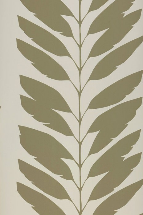 Wallpaper Koda Matt Leaf tendrils Cream Olive grey