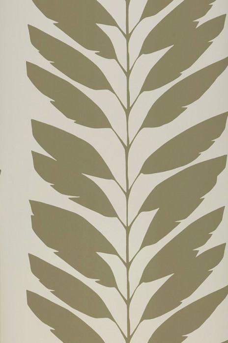 Papier peint Koda Mat Vrilles de feuille Blanc crème Gris olive