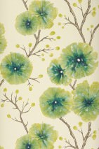Wallpaper Cerna Matt Branches with leaves and blossoms Cream Beige grey Green yellow Opal green