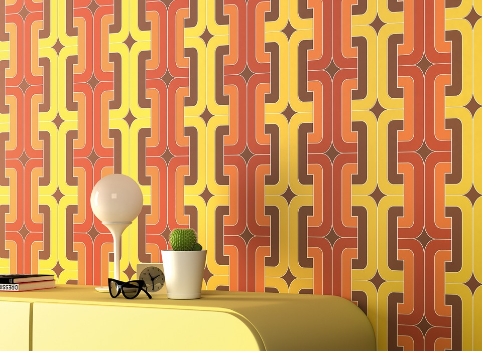 Wallpaper Dakota Matt Graphic elements Retro design Brown Yellow Copper brown Orange White