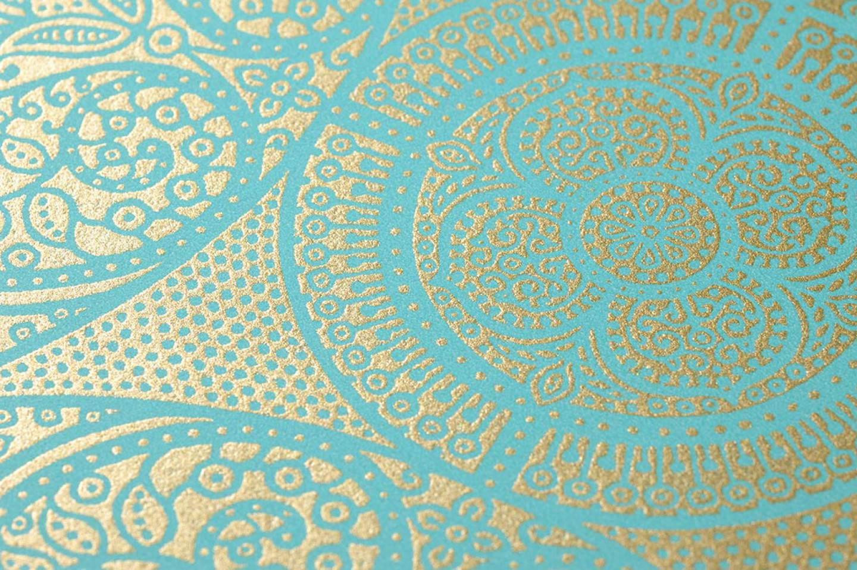 Papier peint kassandra turquoise dor papier peint des ann es 70 - Papier peint annee 70 ...