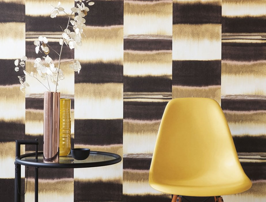 Wallpaper Fenegra Matt Graphic elements Stripes Beige red Brown beige Dark brown White