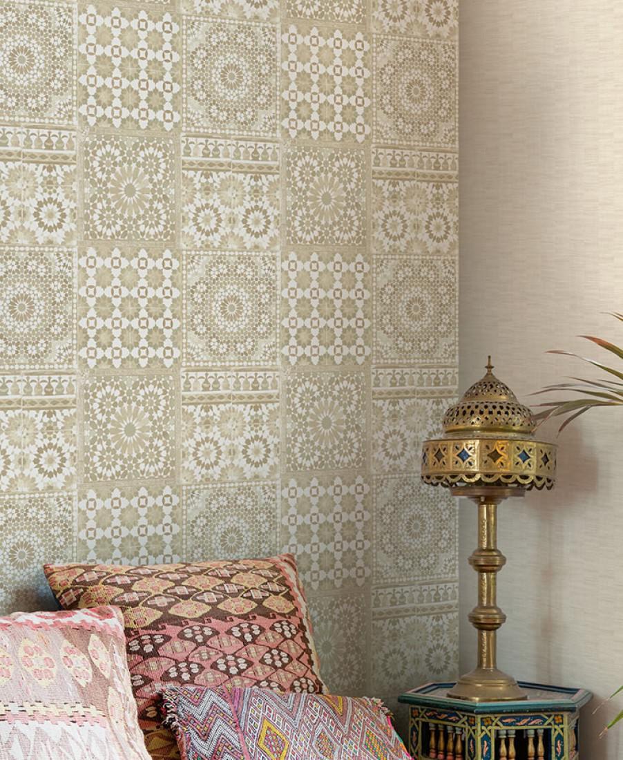 tapete azulejos beige cremeweiss graubeige sepiabraun tapeten der 70er. Black Bedroom Furniture Sets. Home Design Ideas