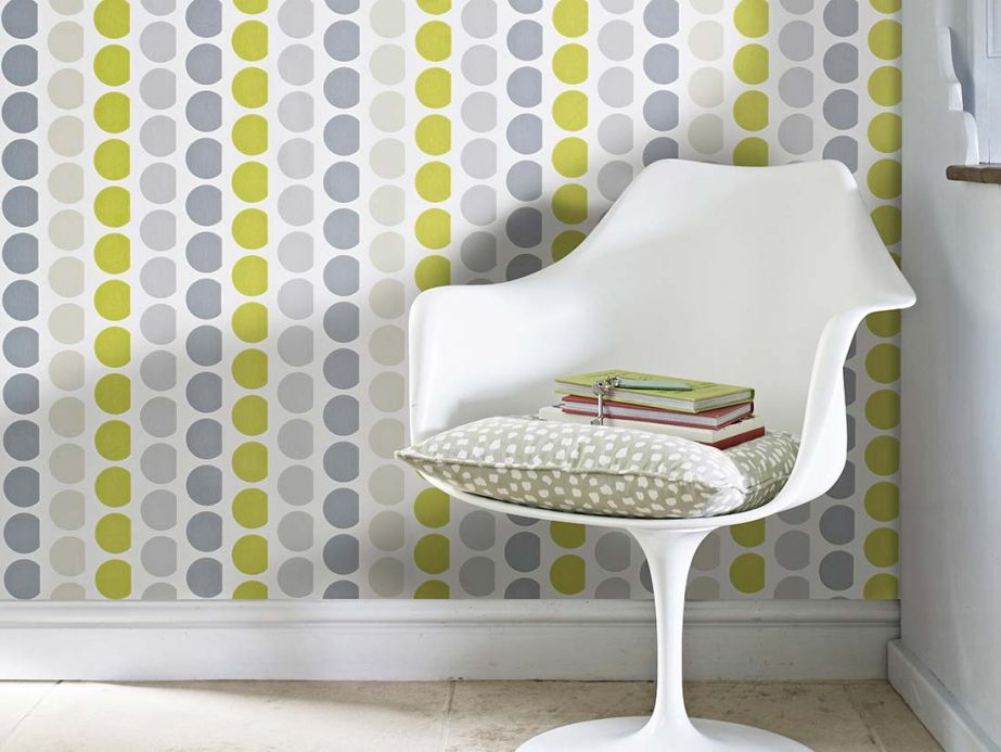 Archiv Wallpaper Satis light yellow green Room View