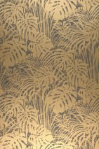 Wallpaper Persephone Shimmering pattern Matt base surface Palm fronds Anthracite grey Pearl gold