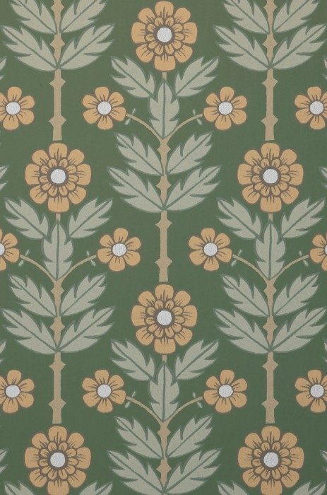 Wallpaper Magdalena Matt Leaves Flowers Pine green Beige Pale brown Pale grey green Grey beige
