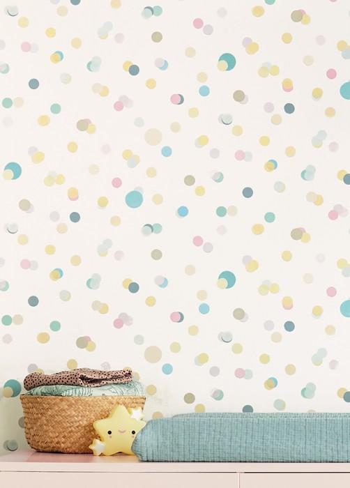 Papier peint Sally Mat Points Blanc crème Jaune clair Vert pastel Beige nacré Bleu turquoise