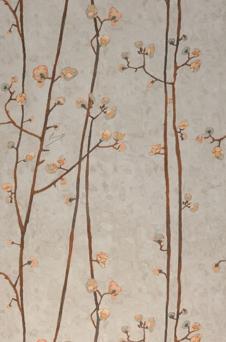 Wallpaper VanGogh Branches Matt Branches with blossoms Light beige grey Pale green Cream Grey brown Pastel yellow