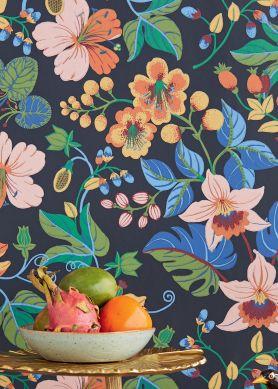 Papel pintado Frederika tonos de azul Ver habitación