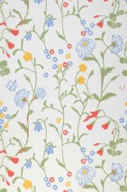 Wallpaper Eilis Hand printed look Matt Flowers Butterflies White Light blue Light yellow Light green Orient red