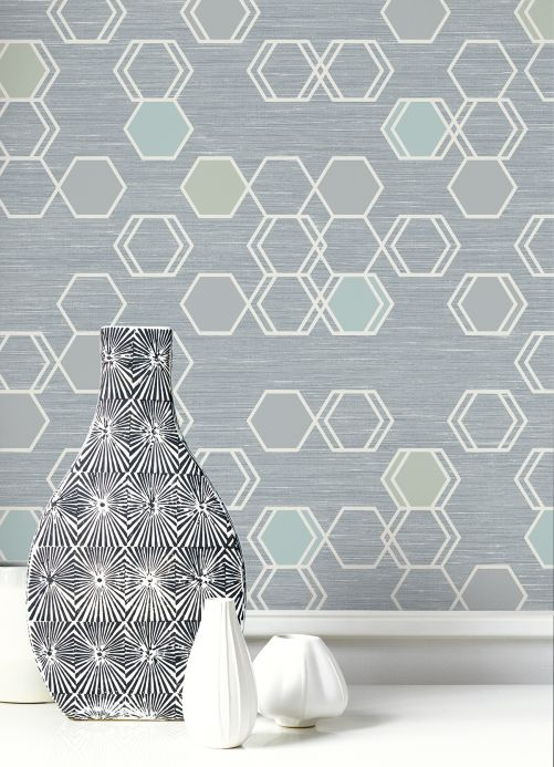 Geometric Wallpaper Wallpaper Portia blue grey Room View