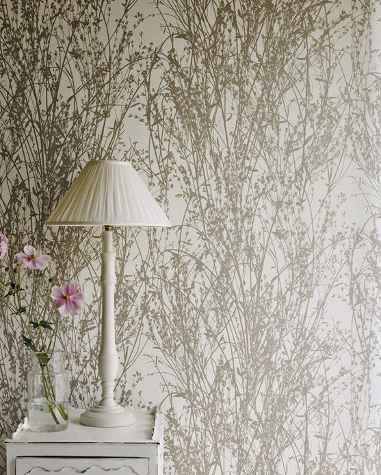 Papel pintado botánico Papel pintado Amasa beige grisáceo Ver habitación