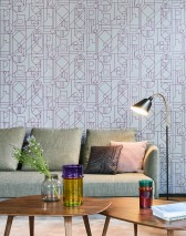 Wallpaper Arisa Matt Art Deco Geometrical elements Light grey Violet